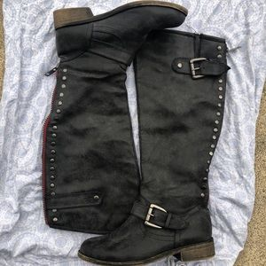 🐞 Madden Girl Tall Rider Charcoal Boots